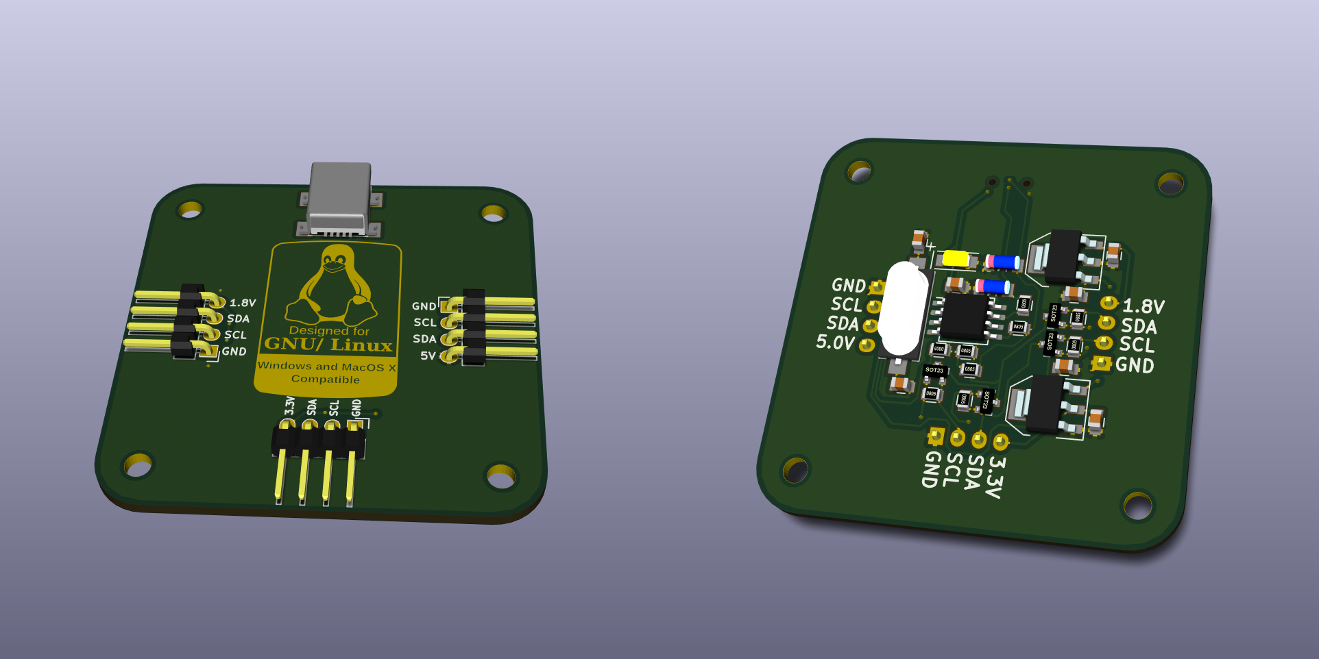 Rendered image of the PCB